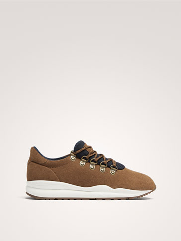 BROWN LEATHER TRAINERS WITH D-RING EYELETS