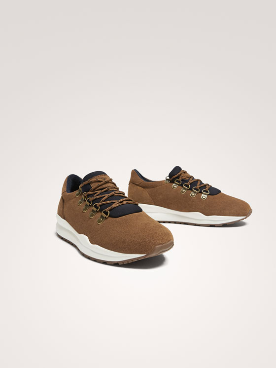 Massimo Dutti - BROWN LEATHER TRAINERS WITH D-RING EYELETS - 3