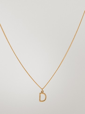 Gold-plated letter d necklace
