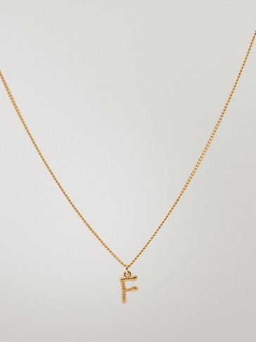 Gold-plated letter F necklace