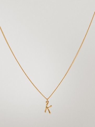 Gold-plated letter k necklace