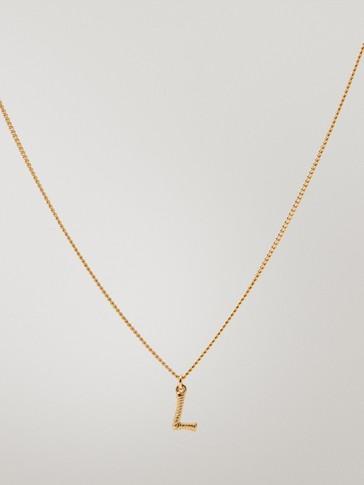 قلادة مطلية بالذهب حرف L