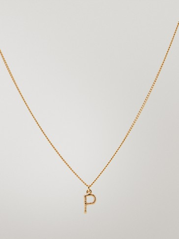 Gold-plated letter p necklace
