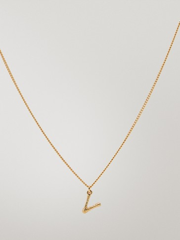Gold-plated letter v necklace