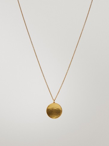 Long gold-plated medallion necklace