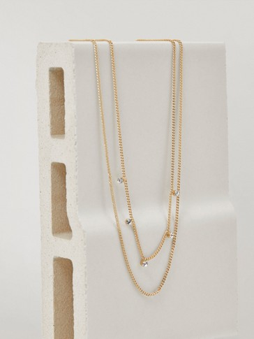Double chain gold-plated necklace