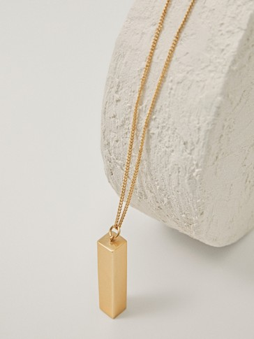 Gold-plated long necklace with rectangular pendant