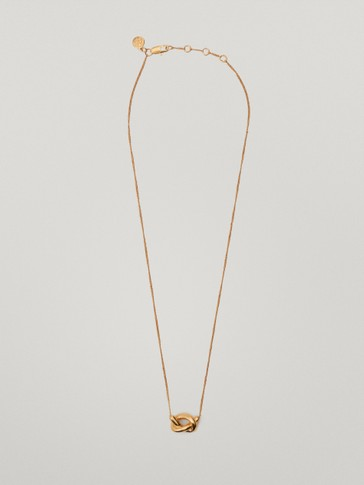 Short gold-plated necklace with knot