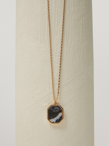Gold-plated geometric stone necklace
