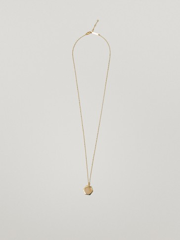 Gold-plated hexagonal stone necklace