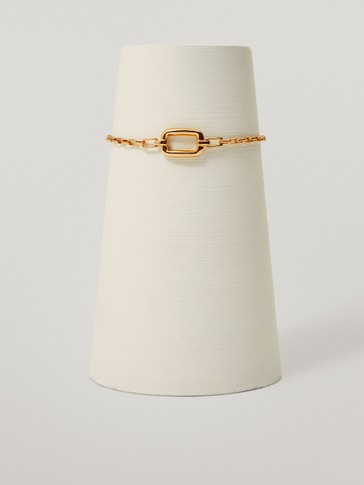 Gold-plated rectangular bracelet