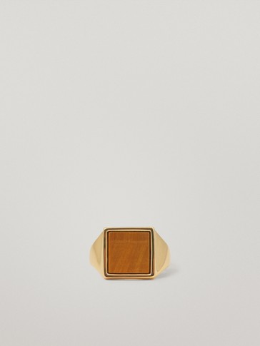 Gold-plated signet ring with stone