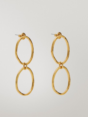 Gold-plated double hoop earrings