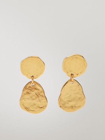 Gold-plated double coin earrings