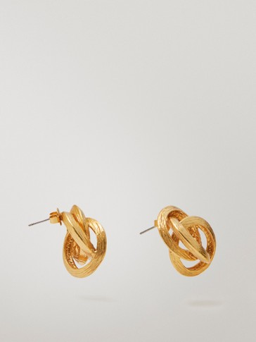 Gold-plated knot earrings