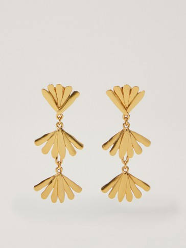 Gold-plated dangle earrings