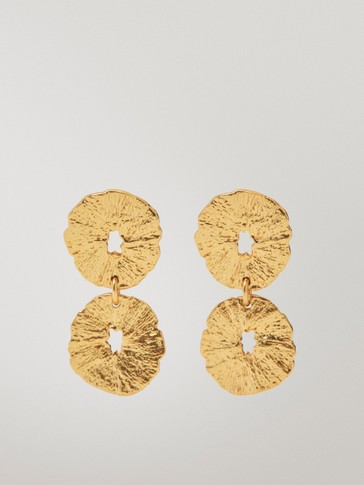 Gold-plated irregular coin earrings