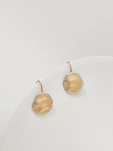 Gold-plated earrings with diamanté details