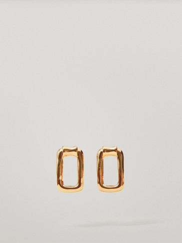 Gold-plated rectangular earrings