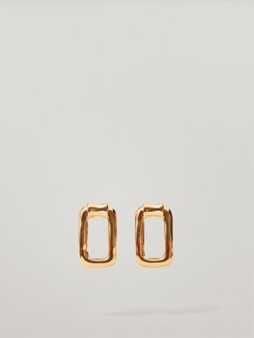 Gold-plated rectangular earrings