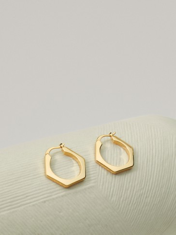Gold-plated hexagon earrings
