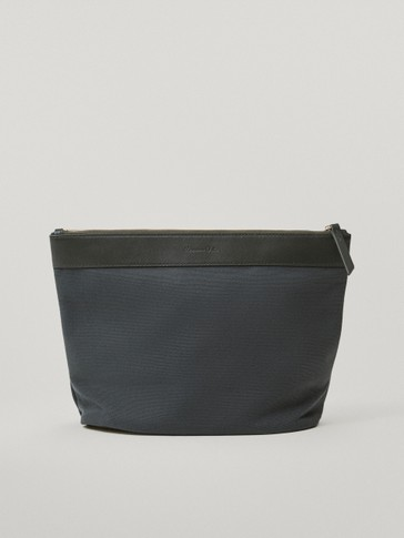 Cotton and leather changing bag