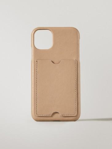 Funda iPhone 11/XR pel con tarxeteiro