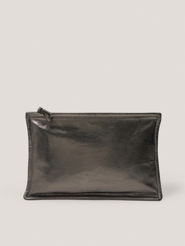Metallic nappa leather clutch
