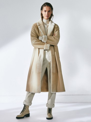 Leather mouton coat with belt