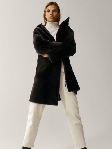 Leather mouton coat with hood