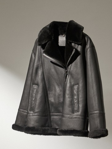 Mouton leather biker jacket