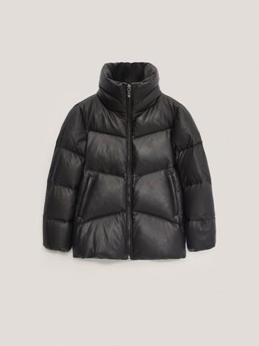Crna kožna pernata jakna