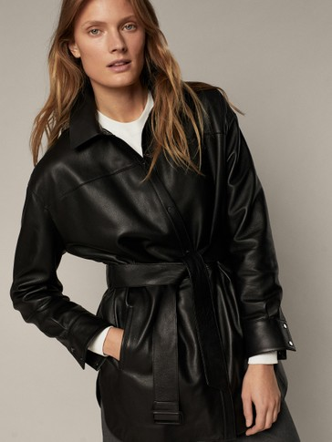 Black leather shirt with belt