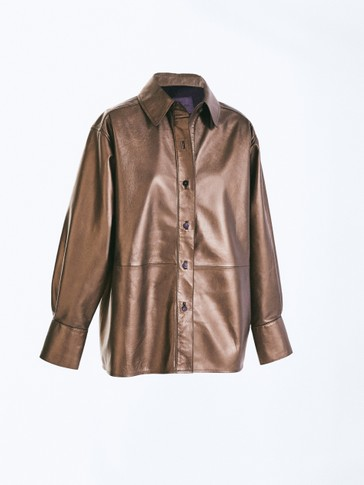 Metallic leren blouse