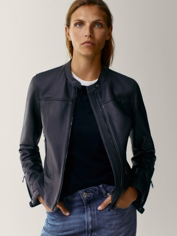 Black grainy nappa leather jacket