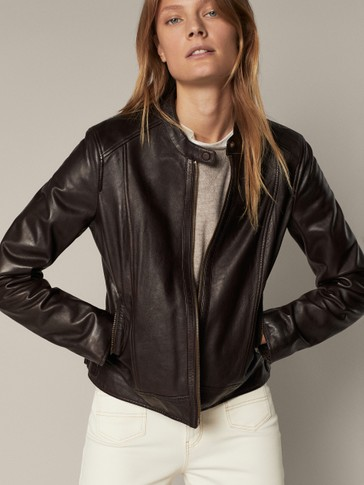 Leather jacket with central seam detail