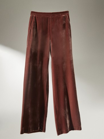 Straight velvet trousers