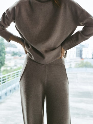 Trousers with ribbed detail