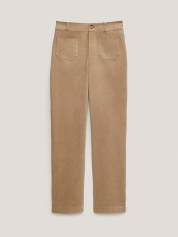 Pantalon microvelours côtelé en coton coupe slim