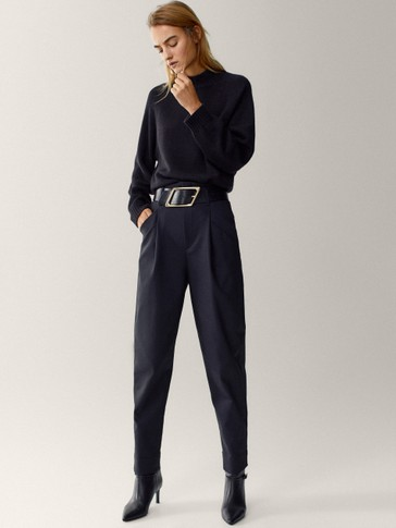 Black technical fabric trousers