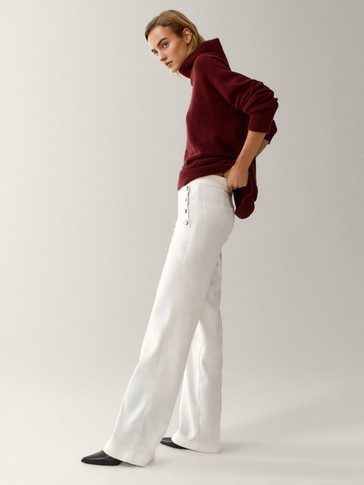 Wide leg trousers with buttons