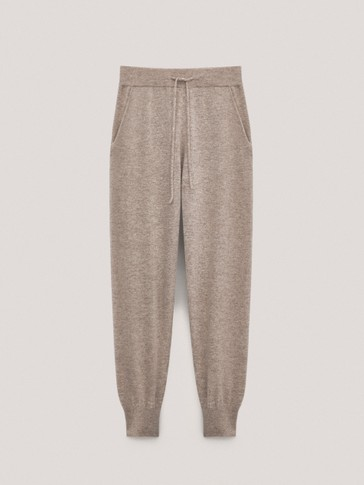 Cashmere wool trousers with elastic hems