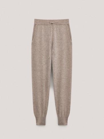 Pantalon en laine et cachemire bas resserré et élastique