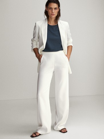 Straight leg crepe trousers