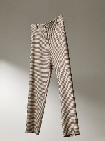 Cigarette fit houndstooth trousers