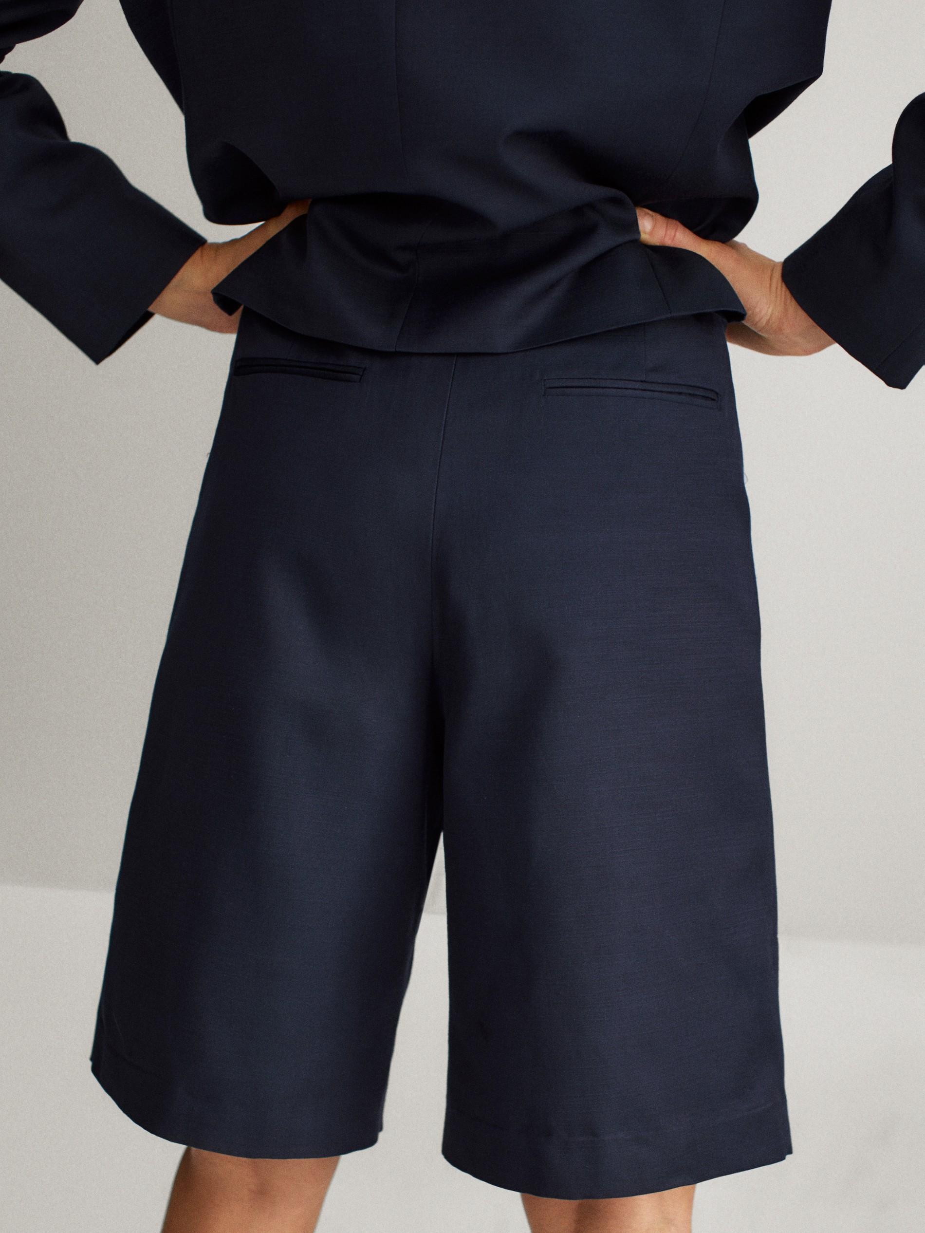 Men Suit Womens high-end Business Blue Crepe Suit Skirt