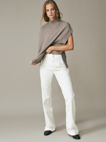 Wide-leg darted corduroy trousers