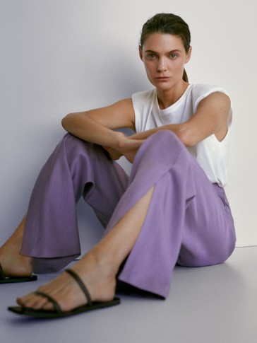 Asian fit. Linen trousers with slit detail
