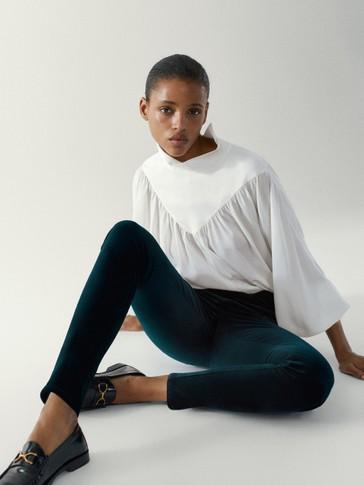 High-rise skinny fit velvet trousers