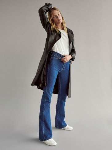 High-rise flared skinny jeans